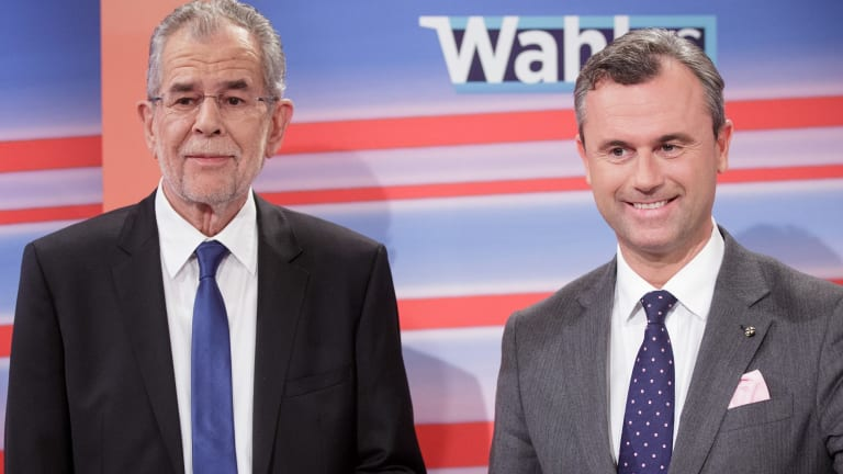 New Austrian President Alexander Van der Bellen, left, and far-right candidate Norbert Hofer.