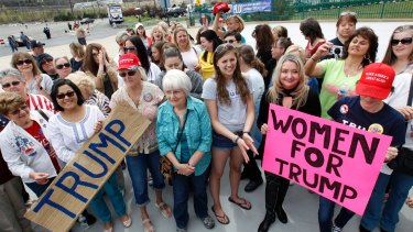 Women show support for Donald Trump Wilkes-Barre, Pennsylvania in April last year.