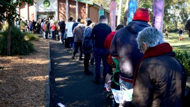 A long queue of voters outside a polling station in Sydney on Saturday.