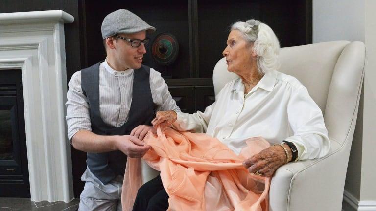 Fashion collector Tom McEvoy meets with 97-year-old former fashion designer Elvie Pelman. Elvie's label was Elvie Hill.