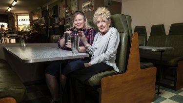 Daughter Chris Glasgow and mother Marlene Schreck from Perth enjoy traditional milkshakes at the retro Milk Bar Cafe 2223.