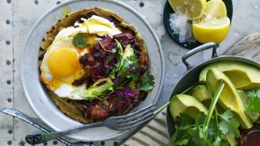 Chilli fried black beans, pancetta and egg.