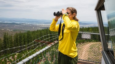Fire management officer Dagmar Schade looking out for potential fires in Kowen Forest.