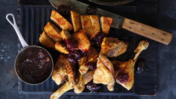 Neil Perry's roast duck with cherries