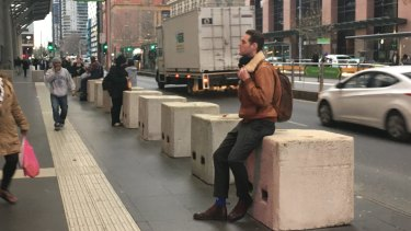 Bollards at Southern Cross station have been adopted as public seating.