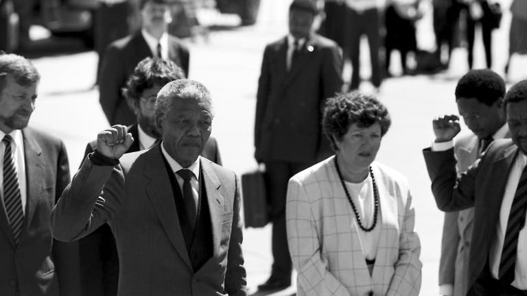 Nelson Mandela, arrives in Melbourne, greeted by Premier Joan Kirner in 1990.