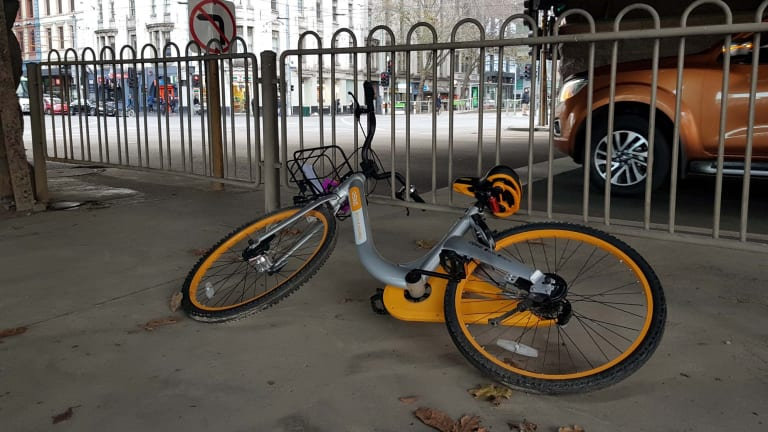 An abandoned oBike in Melbourne's CBD.