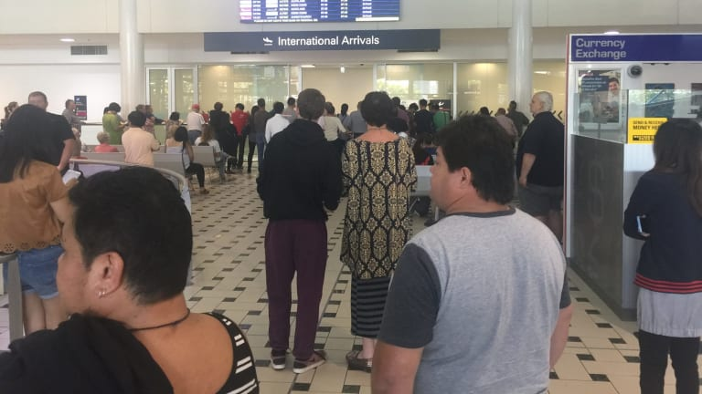 Brisbane Airport Delays International Passengers Queue Out Door