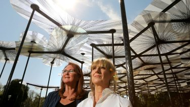 MPavilion founder Naomi Milgrom and architect Amanda Levete, who designed the 2015 structure.