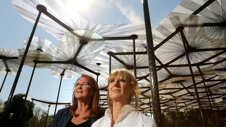 MPavilion founder Naomi Milgrom and architect Amanda Levete, who designed the 2015 structure.