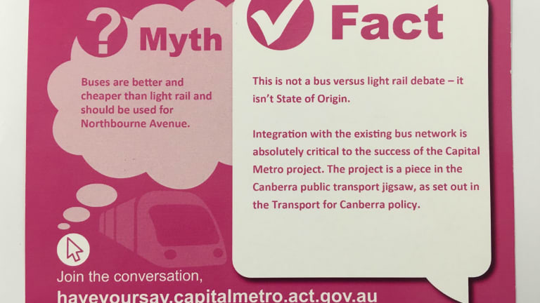Myth buster postcards had to be pulped after intervention from the ACT Electoral commissioner.