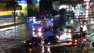 Flooding on Parramatta Road at Summer Hill.