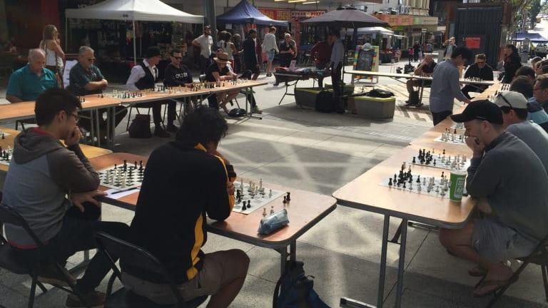 Brisbane Ultimate Chess Battle in the Brunswick Street Mall.