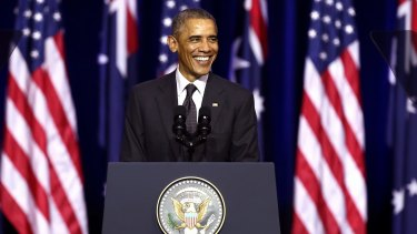 US President Barack Obama delivers his speech at the University of Queensland during the G20.
