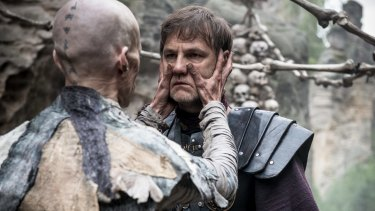 Mackenzie Crook (left) as Veran and David Morrissey as Aulus in <i>Britannia</i>.