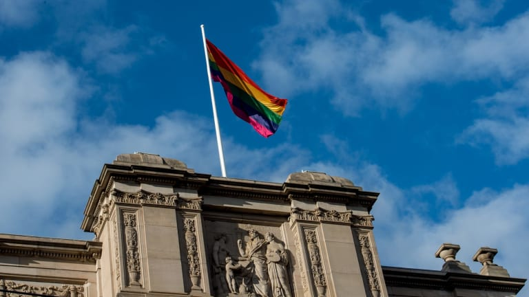 A rainbow flag atop Victorian Parliament House last year.