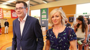Daniel Andrews and his wife Catherine Andrews at Albany Rise Primary School, Mulgrave on Saturday.