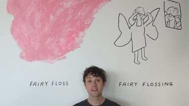 Artist Kenny Pittock has fun with fairy floss.