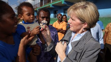 Ms Bishop pictured during a school visit in Vanuatu on the weekend. The country was devastated by Cyclone Pam,