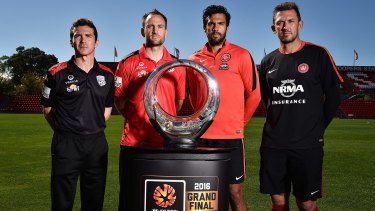 Champions in waiting: Adelaide coach Guillermo Amor and captain Eugene Galekovic eye the spoils of victory with Wanderers counterparts Nikolai Topor-Stanley and Tony Popovic.
