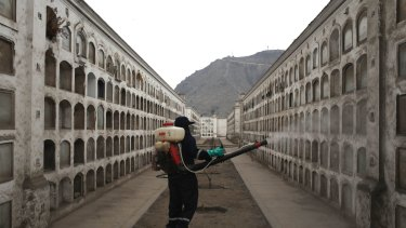 A health worker fumigates against the Aedes aegypti mosquito, a vector for the spread of dengue, chikungunya and Zika virus, at Presbitero Maestro cemetery in Lima, Peru, on Friday.
