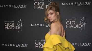 Model Gigi Hadid poses for photographers upon arrival at the Gigi Maybelline Party, in London, Tuesday, November 7, 2017.