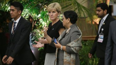 Foreign Minister Julie Bishop with her Indonesian counterpart Retno Marsudi at the Indian Ocean Rim Association summit on Monday.