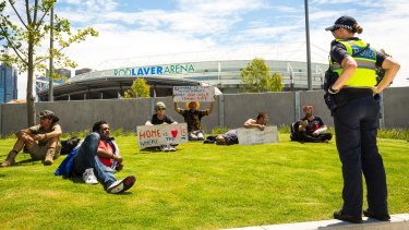 A group of Melbourne's homeless staged a protest outside Rod Laver arena.