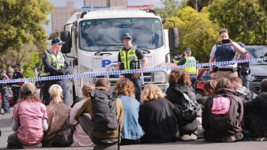 Squatters from East West Link housing protested the compulsory acquisitions.