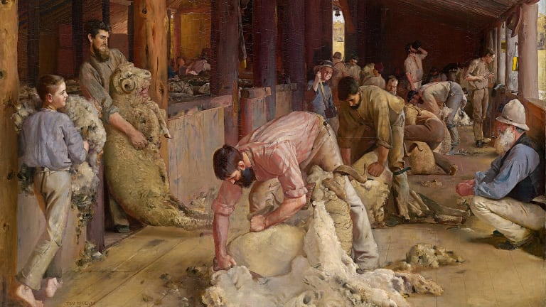 'Shearing the Rams' gives shearers the feel of figures from classical statuary.