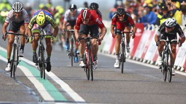 Mark Cavendish, right, looks across as he is beaten to the finish by Andre Greipel, Peter Sagan and Fabian Cancellera.