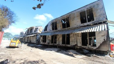 Accommodation buildings at the Nauru detention centre on 20 July, 2013, after the rioting and fires that destroyed much of it.