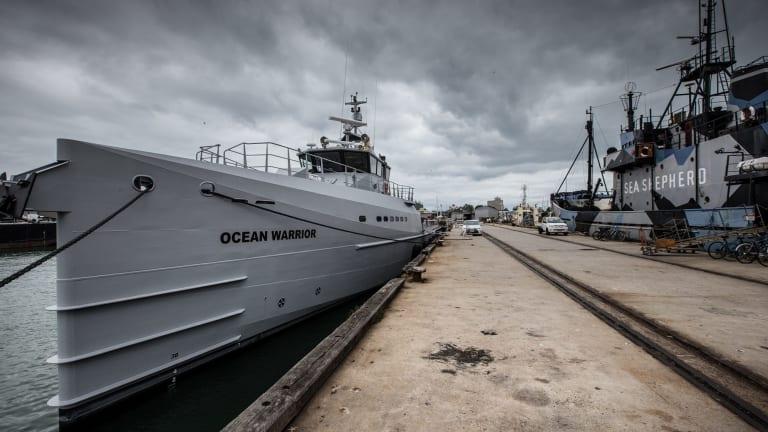 Sea Shepherd's new anti-whaling ship, Ocean Warrior in Williamstown for preparations ahead of Japan's whaling season.