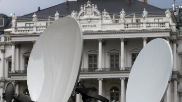 Satellite dishes in front of Palais Coburg before the start of nuclear talks between Tehran and six world powers in Vienna.
