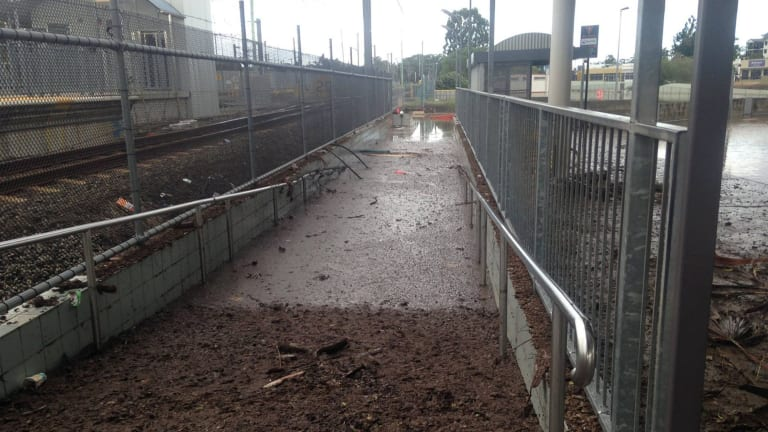Some of the damage Queensland Rail workers had to contend with following the rain brought to south-east Queensland by ex-Cyclone Debbie.