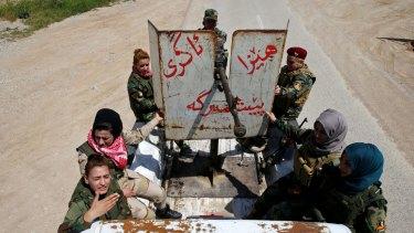 The all-female Peshmerga combat unit near Mosul last month.