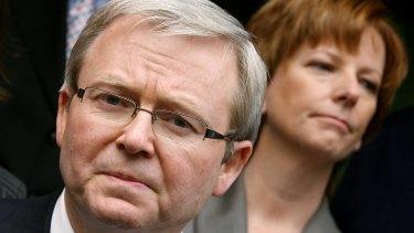 No love lost here: Former Labor prime ministers Kevin Rudd and Julia Gillard.