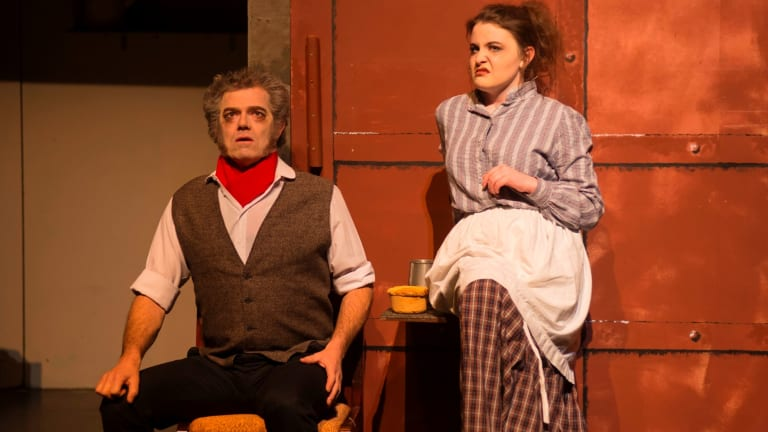 David Pearson (left, Sweeney Todd) and Meaghan Stewart (Mrs Lovett) embody the evil duo well in <i>Sweeney Todd</I>.