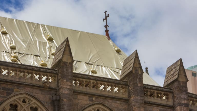 St John's Anglican Cathedral waiting for repairs after storm damage.