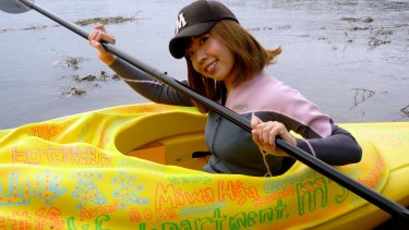 "Megumi Igarashi – the controversial artist known as ""good-for-nothing girl"" – rows a kayak modelled on her vagina."