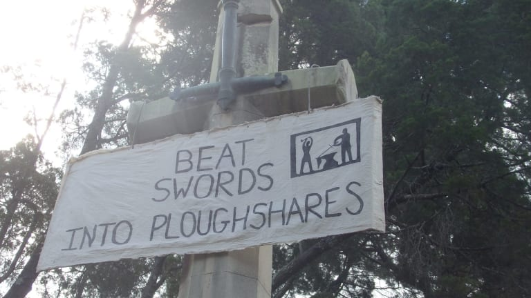 A banner discovered by police investigating vandalism at the Canon Garland memorial at Toowong on March 1.