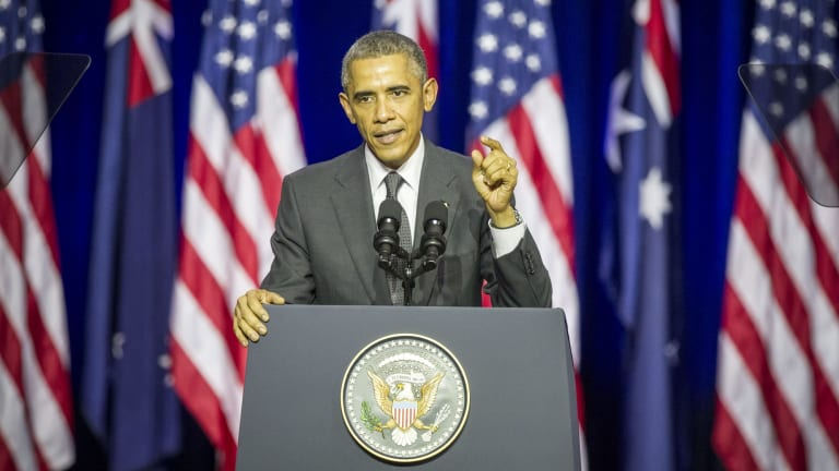 US President Barack Obama called for global action to curb greenhouse gas emissions during at speech at the University of Queensland on Saturday.