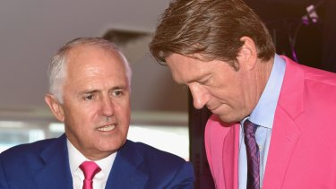 Prime Minister Malcolm Turnbull talks to Glenn McGrath on Tuesday.