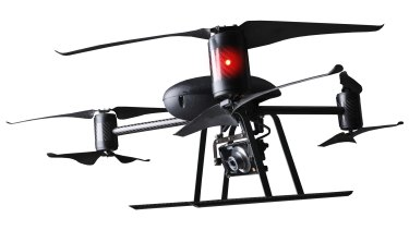 Eye in the sky: The Draganflyer X6 drone weighs two kilograms and can stay in the sky for 24 minutes.