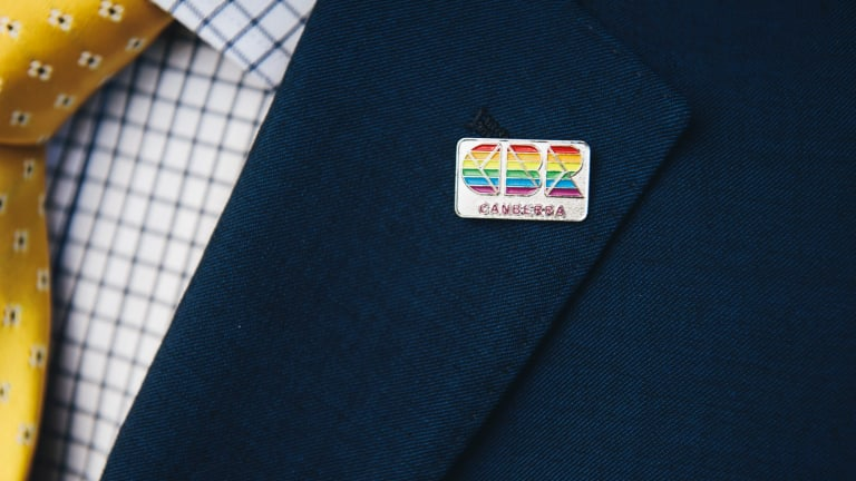 ACT Chief Minister Andrew Barr's rainbow CBR pin.