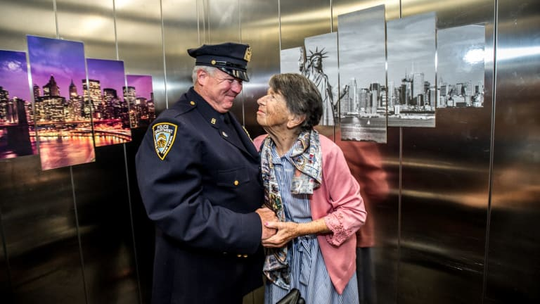Uniting Care Mirinjani retirement village has granted a lifelong wish for resident Berenice Benson to meet a real New York city cop, Detective Howard Shank.