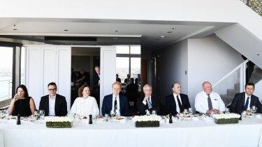 Super funds roundtable event: From left: Linda Cunningham, Cbus Super Australia; Kristian Fok, Cbus; Gina Rinehart, Hancock; Anthony Pratt, Visy; Paul Keating; John Fraser, Dept of Treasury; Lindsay Fox, Linfox; David Neal, CEO, Future Fund.