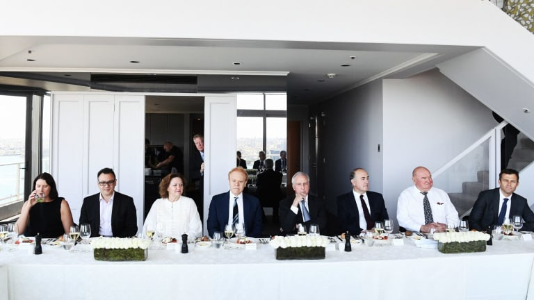 Super funds roundtable event: From left: Linda Cunningham, Cbus Super Australia; Kristian Fok, Cbus; Gina Rinehart, Hancock; Anthony Pratt, Visy; Paul Keating; John Fraser, Dept of Treasury; Lindsay Fox, Linfox; David Neal, CEO, Future Fund.