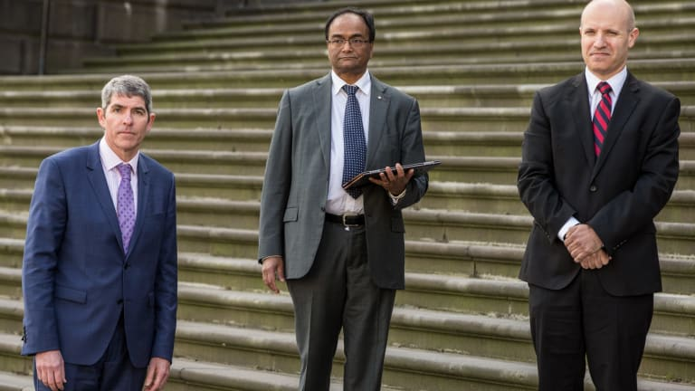The three past presidents of AMA Victoria who are calling on MPs to oppose assisted dying legislation. From left: Dr Mark Yates, Dr Mukesh Haikerwal, and Dr Stephen Parnis.