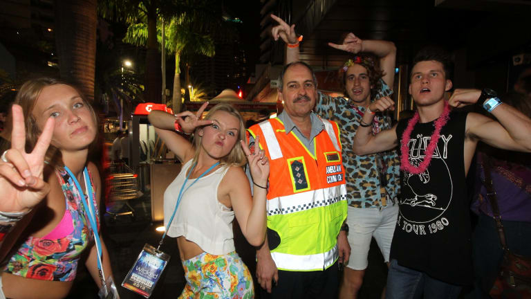 Hot spot: Patrick Berry, senior operations supervisor with the Queensland Ambulance service, at Surfers Paradise during Schoolies week in 2013.